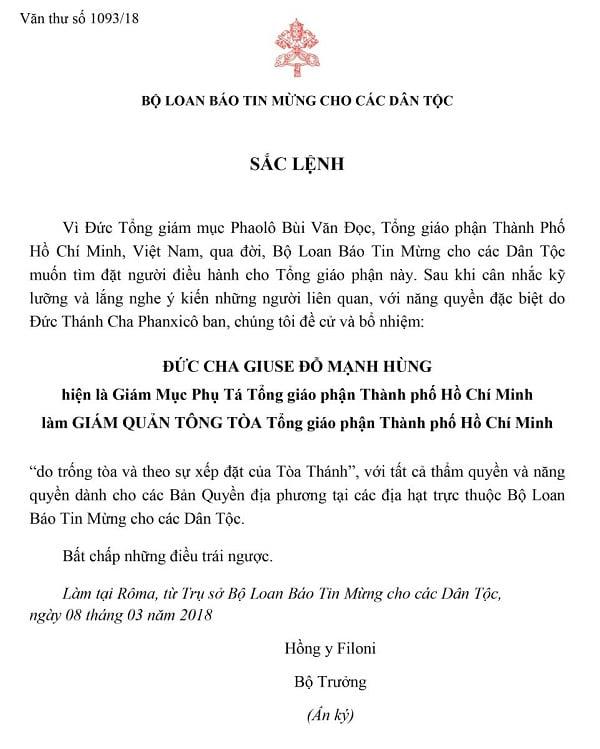 bo nhiem giam quan tong toa tong giao phan tp ho chi minh 2 - Bổ nhiệm Giám quản Tông tòa Tổng giáo phận Tp. Hồ Chí Minh