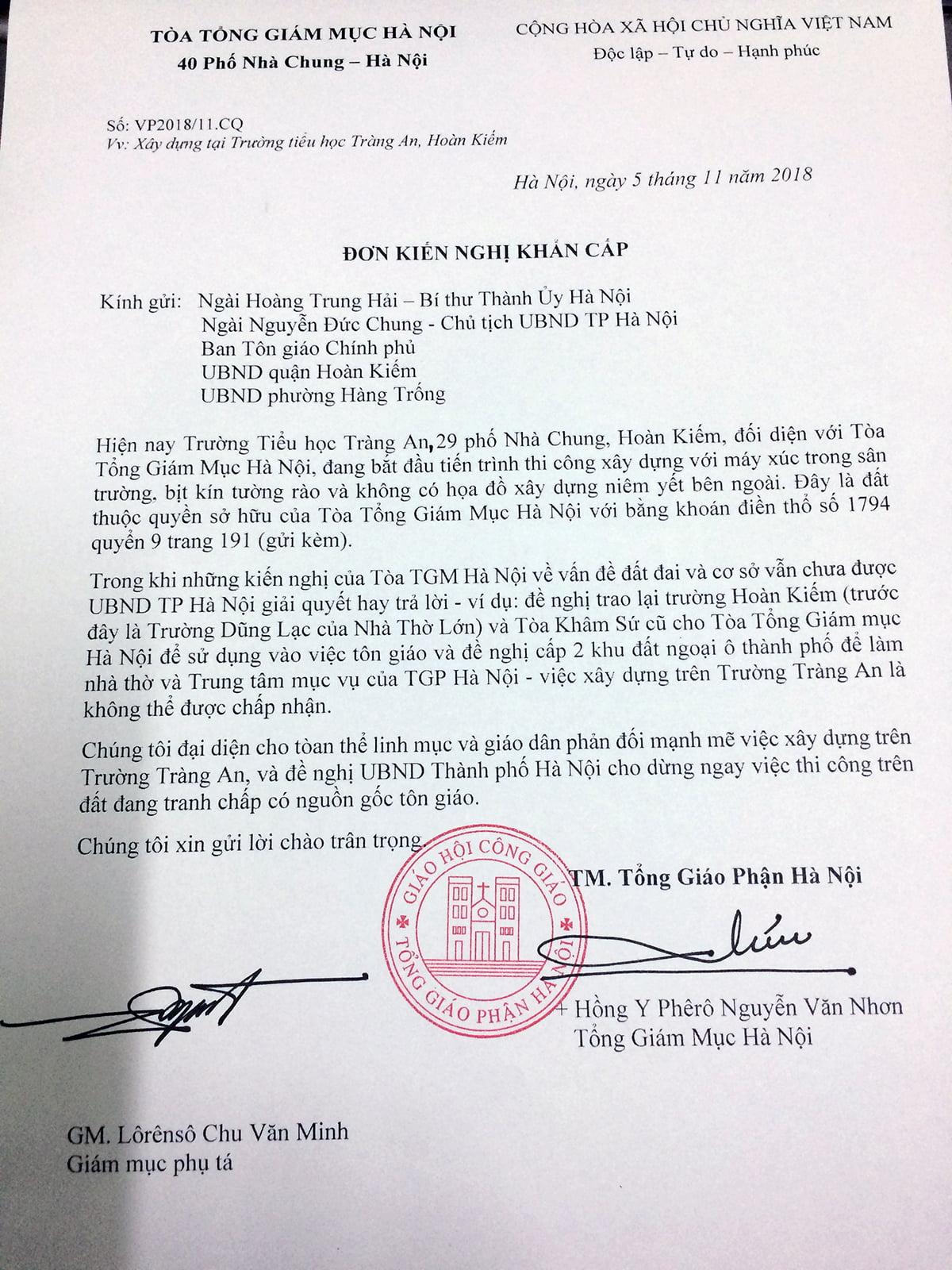 don kien nghi truong trang an - Đơn kiến nghị khẩn cấp về việc xây dựng tại Trường tiểu học Tràng An, Hoàn Kiếm