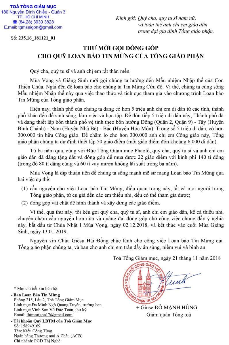 thu moi goi dong gop cho quy loan bao tin mung cua tong giao phan - Thư mời gọi đóng góp cho Quỹ Loan báo Tin Mừng của Tổng Giáo phận