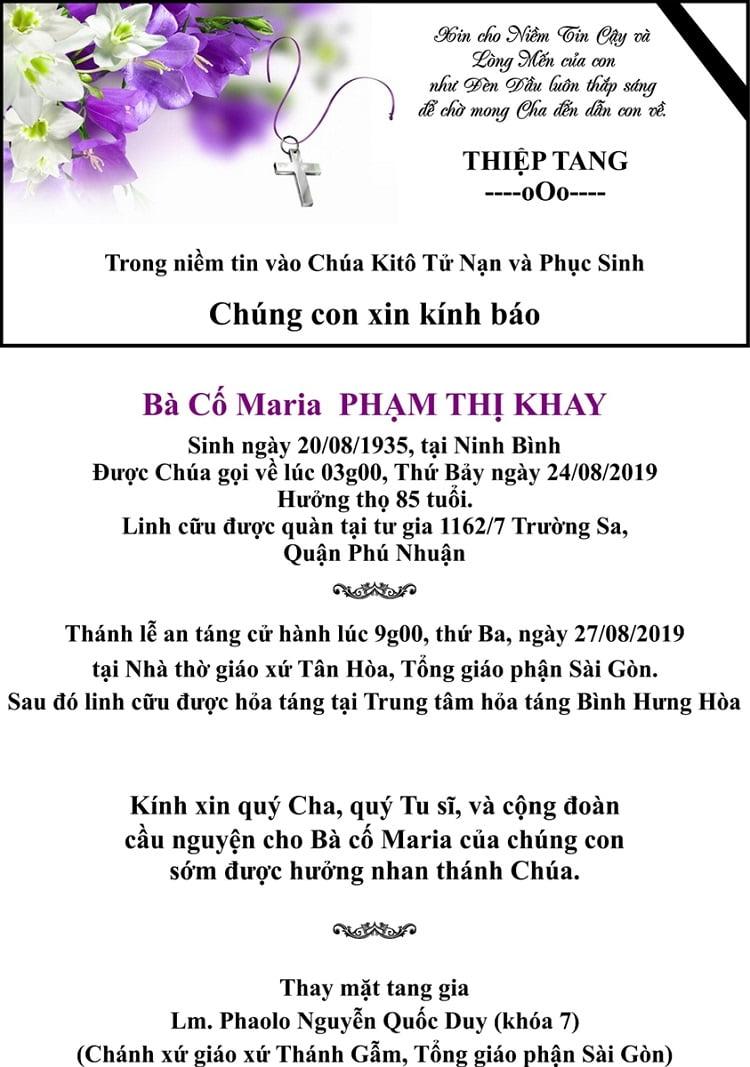1 thiep tang ba co pham thi khay 1 1 - Cáo phó: Thân mẫu của Linh mục Phaolô Nguyễn Quốc Duy qua đời