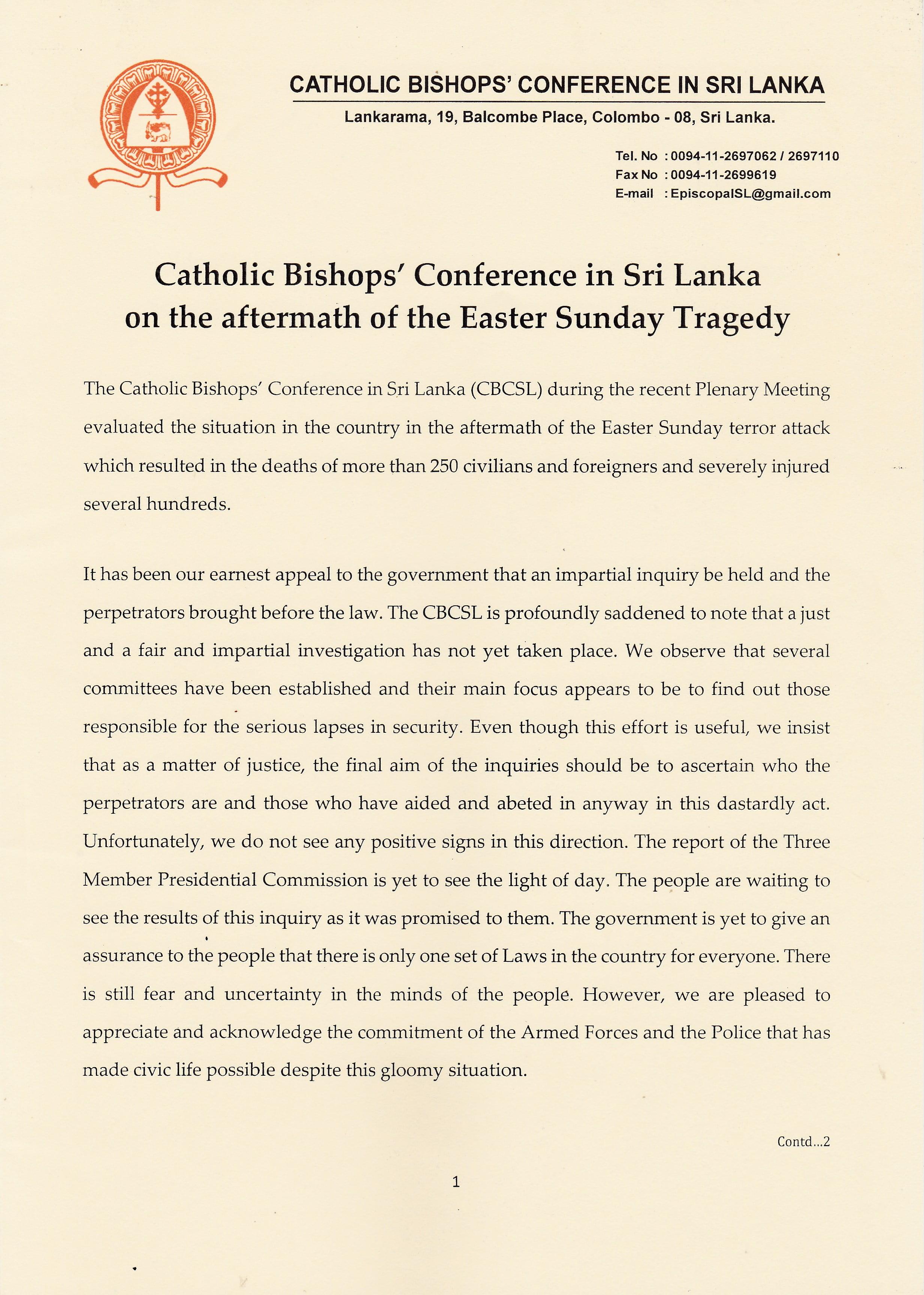 on the aftermath of the easter sunday tragedy english p 1 - Thư kêu gọi của Hội Đồng Giám Mục Sri Lanka Sau Hậu Quả Cuộc Khủng Bố Trong Ngày Chúa Nhật Phục Sinh