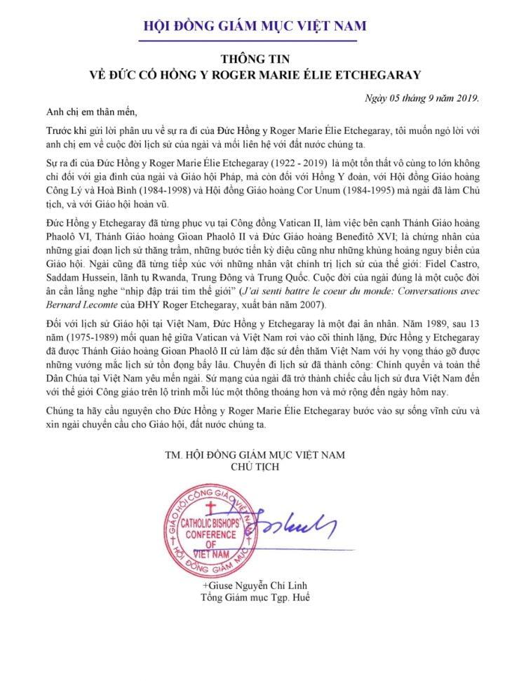 duc co hong y etchegaray 1 750x971 - HĐGMVN: Thông tin về sự ra đi của Đức cố Hồng Y Roger Etchegaray