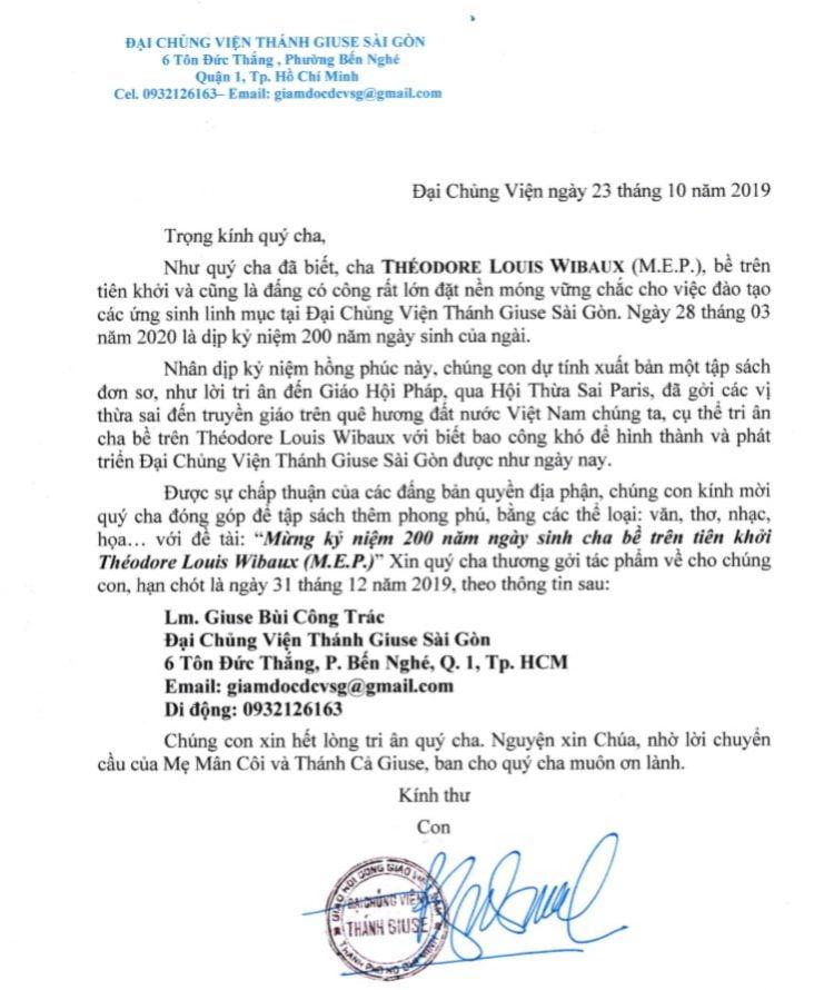"""dai chung vien thanh giuse sai gon 750x890 - ĐCV Thánh Giuse SG: Thư mời đóng góp tập sách """"Mừng 200 năm ngày sinh cha bề trên tên khởi Théodore Louis Wibaux"""""""
