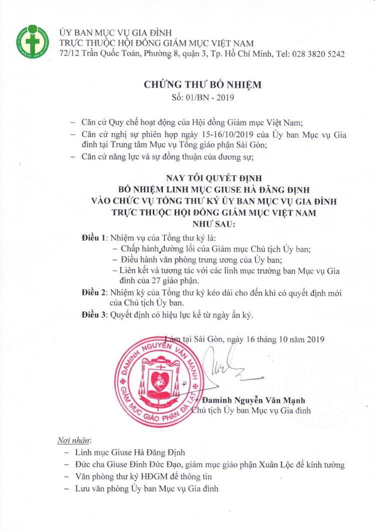 thu bo nhiem tong thu ky uy ban muc vu gia dinh1 750x1061 - Tân Thư ký Ủy ban Mục vụ Gia đình trực thuộc Hội đồng Giám mục Việt Nam
