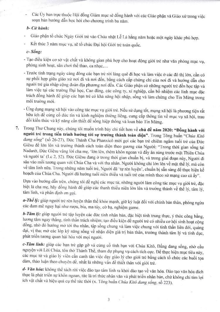 thu chung hdgmvn 2019 to 31 750x1065 - Hội đồng Giám mục Việt Nam: Thư Chung 2019