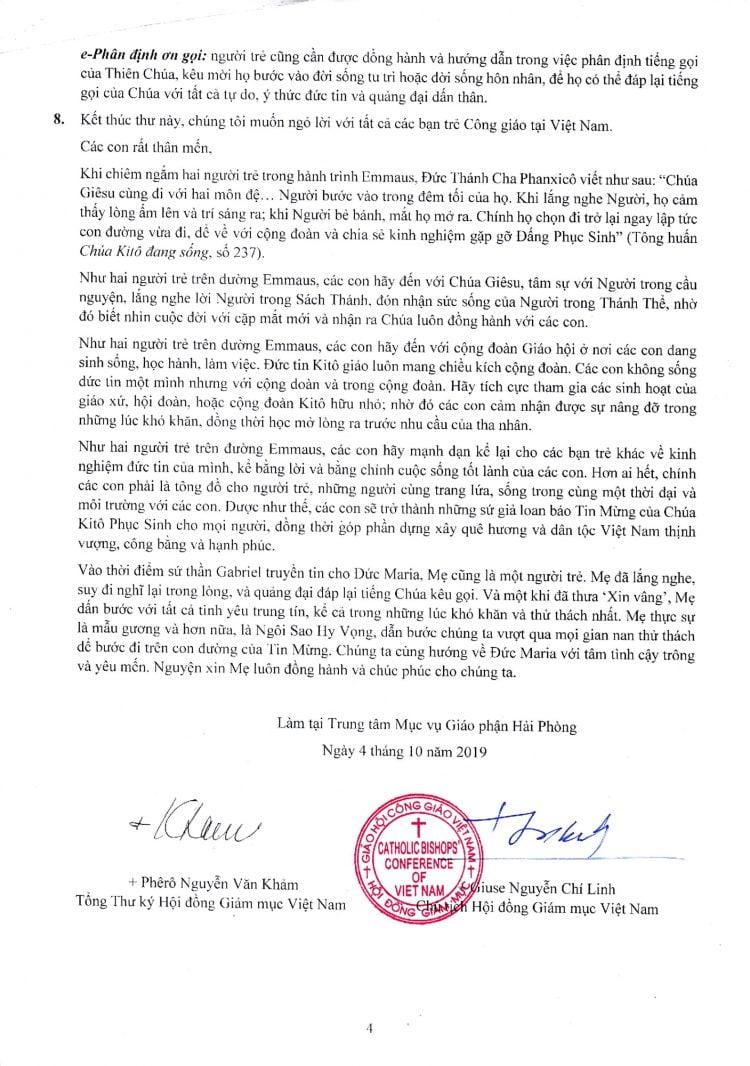 thu chung hdgmvn 2019 to 4 750x1066 - Hội đồng Giám mục Việt Nam: Thư Chung 2019