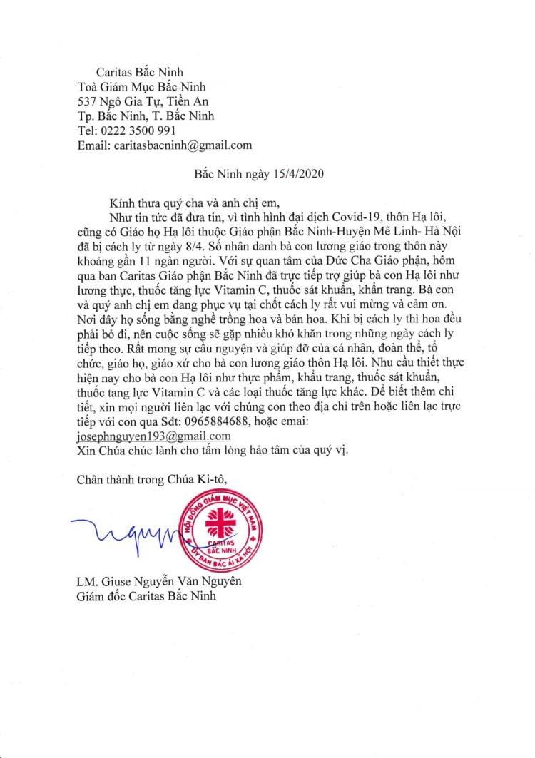 giao ho ha loi 750x1063 - Giáo Phận Bắc Ninh: Thư Ngỏ Xin Trợ Giúp Khu Cách Ly Thôn Hạ Lôi